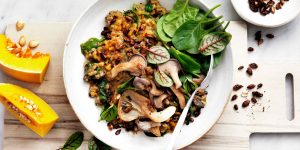 Pumpkin risotto with mushrooms and a seed sprinkle