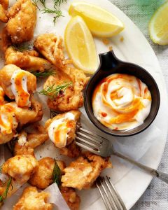 Spicy Fried Cauliflower with a sweet chilli mayonnaise