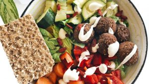 Falafel salad a healthy dinner ideas with Celebrate Health