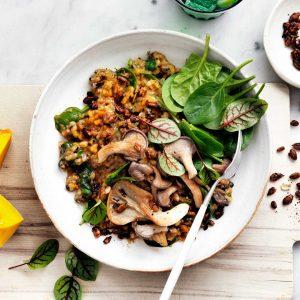 Healthy dinner ideas: pumpkin and mushroom risotto