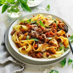 Slow cooked lamb ragu with papadelle