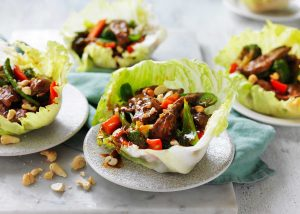 Beef and Cashew Lettuce Cups