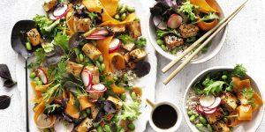 Colourful Teriyaki Tofu Salad on plates with a teriyaki serving sauce