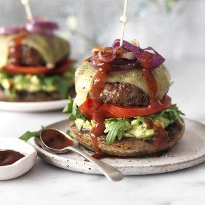 Smoky beef burger on a mushroom bun!