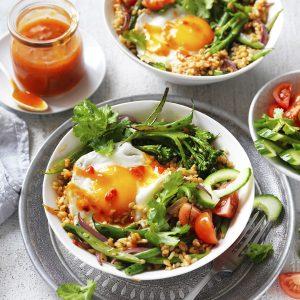 Quick Nasi Goreng with a fried egg